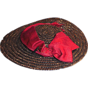 Antique Gray Straw Doll Hat with Red Silk Ribbon Trim