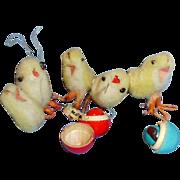 Old Vintage Japan Spun Cotton Easter Chicks and Wooden Nesting Eggs