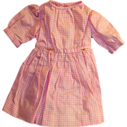 Vintage Pink and White Gingham Cotton Shirtwaist Hand Sewn Doll Dress