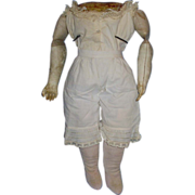 Antique Cloth Doll Body with Leather Arms and Original Underwear