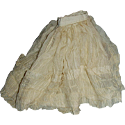 1890 Fancy Silk Ruffled and Cotton Lined Fashion Doll Skirt