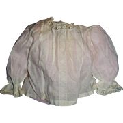 Antique 1900 White Cotton and Lace Doll Blouse
