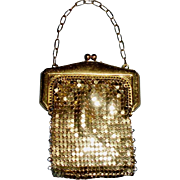 Gold Color Doll Size Whiting and Davis Co Mesh Purse
