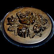 Antique Carved Floral Oval Mourning Brooch