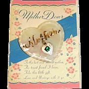 Vintage Script Mother Dear Heart Shape MOP Pin on Card