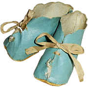 1920 Blue Oilcloth Tie Baby Doll Shoes