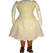 1800s Chunky Cloth and Leather Doll Body in Orig Shoes