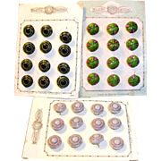 3 Sets on Original Card ofAntique Doll Size Glass Buttons