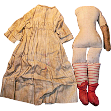 Small Antique Cloth Doll Body with Red Stripe Lower Legs - Red Tag Sale Item