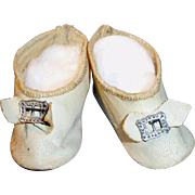 Antique White Oilcloth Doll Shoes with Silver Buckles