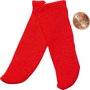 Small Vintage Long Red Cotton Doll Socks