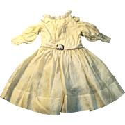 Antique Cream Color Silk and Lace Doll Dress