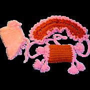 Three Piece Antique Pink Wool Knit Hat Muff Tippet Set