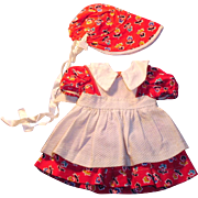 Vintage 1940s Three Piece Cotton Flower Print Doll Dress Bonnet Apron