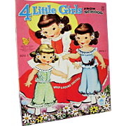 Vintage 1957 Merrill Four Little Girls From School Paper Doll Book Uncut