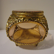 Vintage Jewelry Casket Box Filigree Ormolu