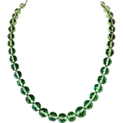 Vintage Peridot Green Glass Bead Necklace