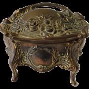 Antique Victorian B&W Gilt Metal Jewelry Box Large & Small