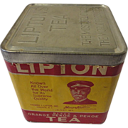Vintage Lipton Tea Tin with Paper Label