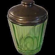 Rare green depression glass tobacco jar hoosier jar metal lid