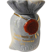 Antique Figural Advertising Liquor Bottle 500,000 Money Bag