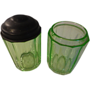2 Green depression 12 sided glass jars and one lid