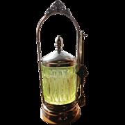 Vintage vaseline green pickle caster jar & tongs
