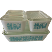 Vintage Pyrex 4 piece Refrigerator Ovenware Dishes Turquoise Butterprint
