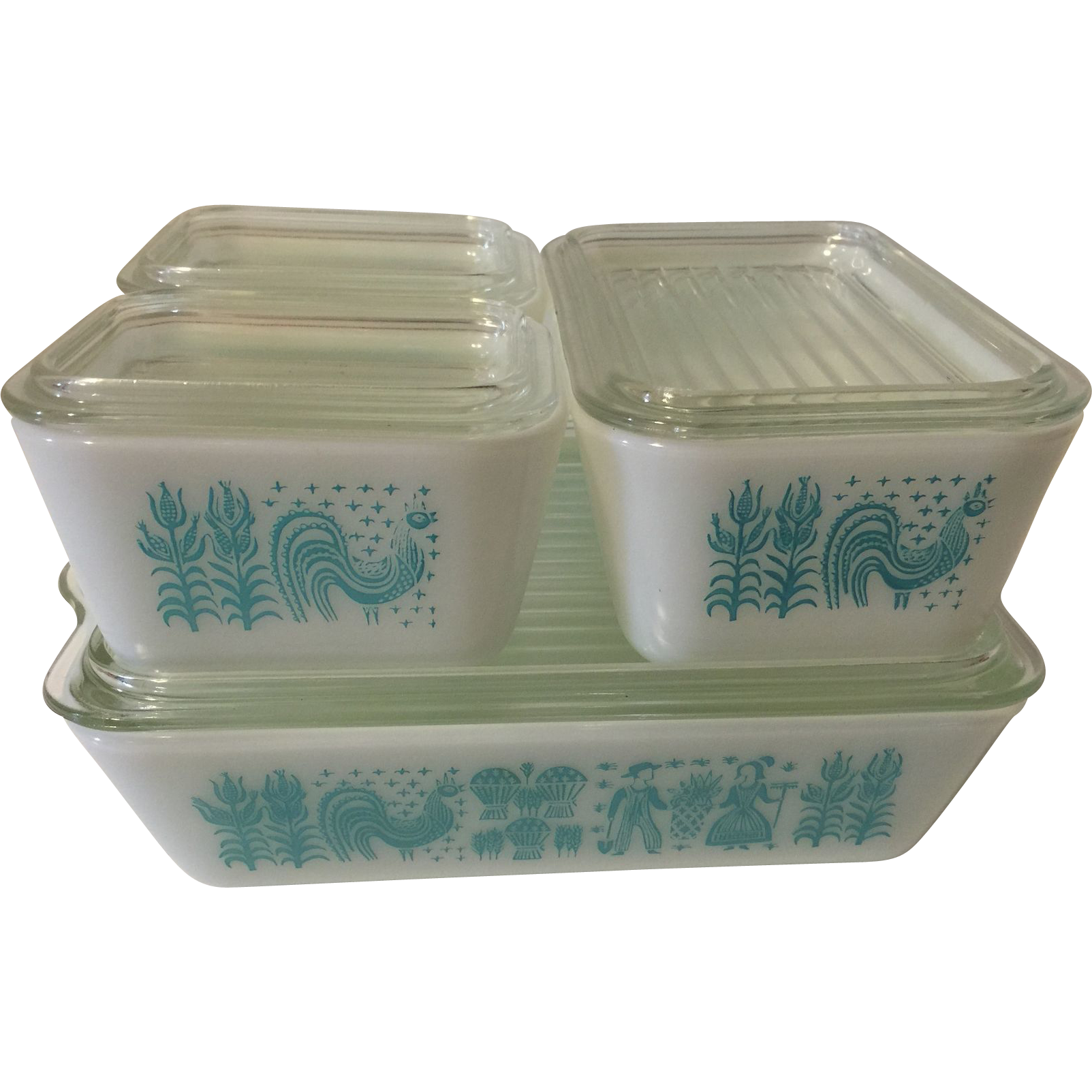 vintage pyrex 4 piece refrigerator ovenware dishes turquoise sold on ruby lane. Black Bedroom Furniture Sets. Home Design Ideas