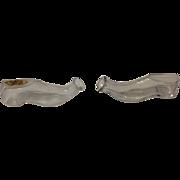2 Antique Shoe Shaped Perfume Cologne Bottles