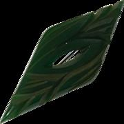 Vintage Carved Green Bakelite Brooch/Pin