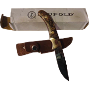 Vintage old Leuopold hunting knife & sheath in box