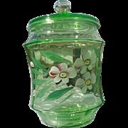 Vintage green depression glass cookie jar or cracker jar green