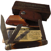 Vintage old Schrade 2 blade knife & sheath in box with papers  number model 859