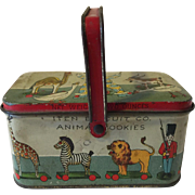 Antique Litho Tin Animal Cookies Box Iten Biscuit Co.