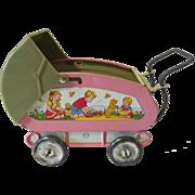 Vintage Ohio Art Tin Litho Toy Baby Buggy