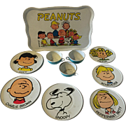 Vintage Tin Toy Dishes Tea Snack Set Peanuts Gang Charlie Brown
