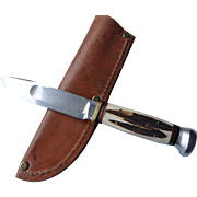 Vintage Marbles hunting knife stag handle Gladstone