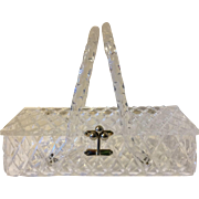 Vintage Clear Lucite Diamond Carved Purse