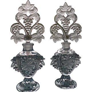 Pair of Vintage  Fan stopper perfume bottles  9-3/4 inches tall
