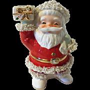 Vintage Inarco Santa Clause Christmas Planter Spaghetti Trim