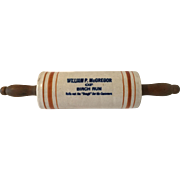Antique Advertising Stoneware Rolling Pin Birch Run Michigan