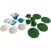 Vintage Akro Agate Child's Dishes Tea Set Blue Jadeite White