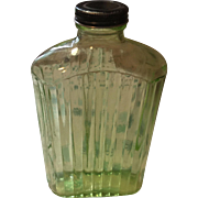 Vintage green depression glass refrigerator water bottle Green Ribbed glass and lid