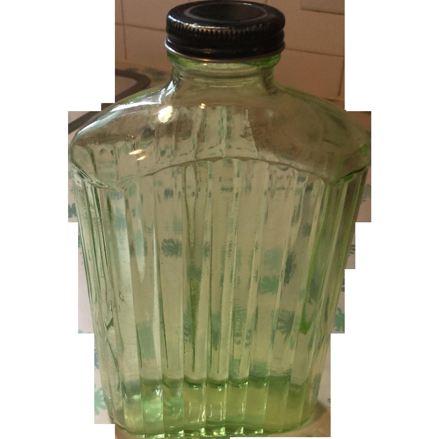 Vintage green depression glass refrigerator water bottle ...