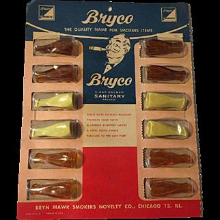 Vintage Store Display of 12 Bryco Cigar Holders NOS