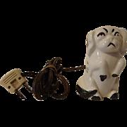 Vintage Ceramic Pekingese Dog 3 Outlet Electric Extension Cord