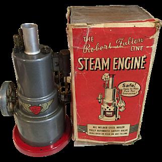 Vintage Metal Robert Fulton Steam Engine metal toy in box