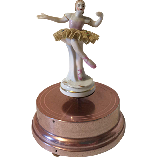 Vintage Pink Aluminum Music Box Porcelain Dancing Ballerina