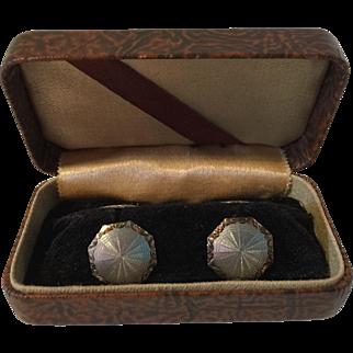 Antique Platinum and 14K Gold Cufflinks Cuff Links in Original Box